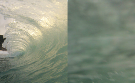 Two images of a wave in Waimea Bay, Hawaii, taken 0.1 s apart, reveal how quickly things can change from beauty to chaos (or vice versa).